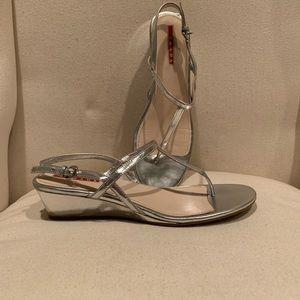 Silver Prada sandals